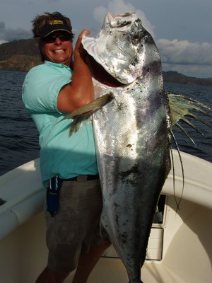 Unofficial world record Rooster fish Flamingo fishing charters tours costa rica pacific coast - small