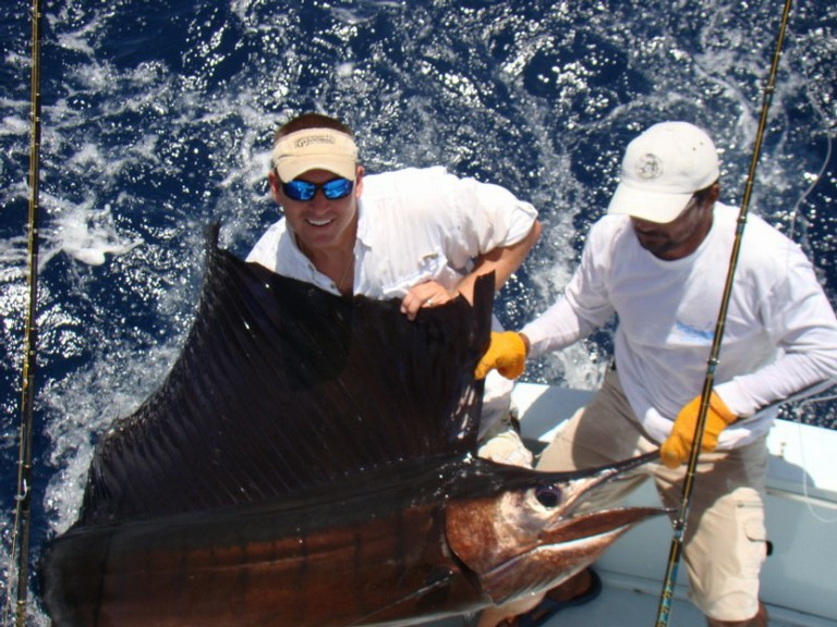 fishing charters tours costa rica pacific coast sail fish catch righ off of the coast - big